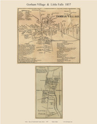 Gorham Village & Little Falls, Maine 1857 Old Town Map Custom Print - Cumberland Co.