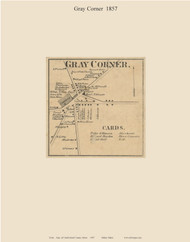 Gray Corner, Maine 1857 Old Town Map Custom Print - Cumberland Co.