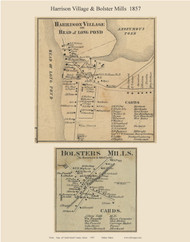 Harrison Village & Bolsters Mills, Maine 1857 Old Town Map Custom Print - Cumberland Co.