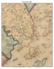 Yarmouth, Maine 1857 Old Town Map Custom Print - Cumberland Co.