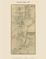 Yarmouth Village, Maine 1857 Old Town Map Custom Print - Cumberland Co.