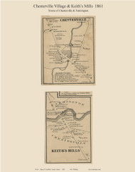 Chesterville Village & Keith's Mills, Maine 1861 Old Town Map Custom Print - Franklin Co.