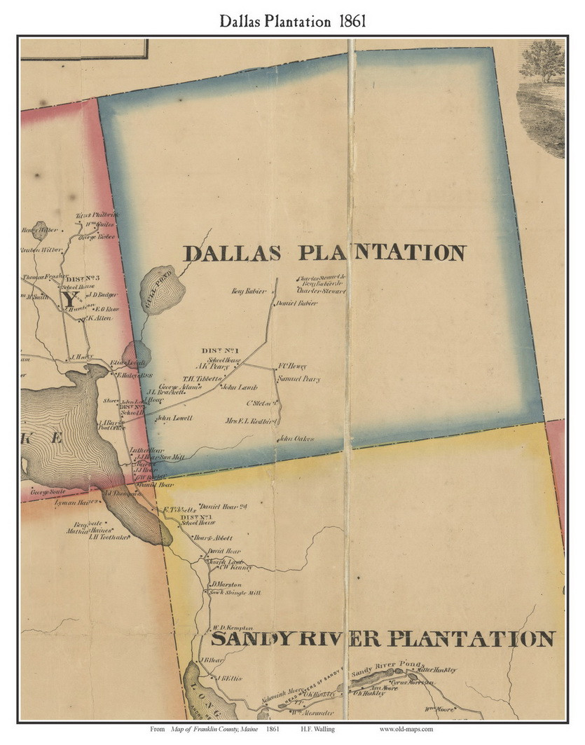Old Dallas Map.Dallas Plantation Maine 1861 Old Town Map Custom Print Franklin