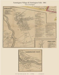 Farmington Village & Farmington Falls, Maine 1861 Old Town Map Custom Print - Franklin Co.