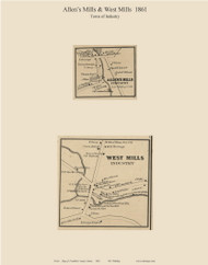 Allen's Mills & West Mills, Maine 1861 Old Town Map Custom Print - Franklin Co.