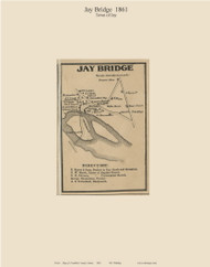 Jay Bridge, Maine 1861 Old Town Map Custom Print - Franklin Co.