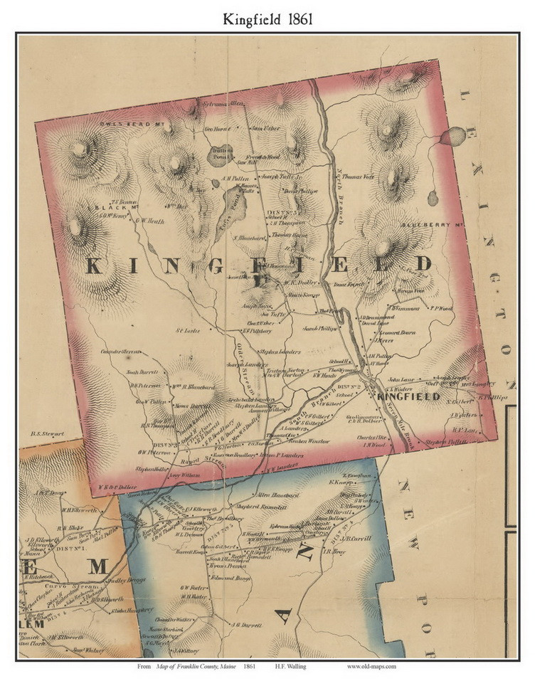 Kingfield Maine Map.Kingfield Maine 1861 Old Town Map Custom Print Franklin Co Old