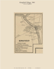 Kingfield Village, Maine 1861 Old Town Map Custom Print - Franklin Co.