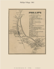 Phillips Village, Maine 1861 Old Town Map Custom Print - Franklin Co.