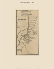 Strong Village, Maine 1861 Old Town Map Custom Print - Franklin Co.