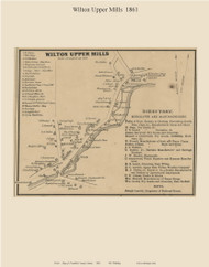 Wilton Upper Mills, Maine 1861 Old Town Map Custom Print - Franklin Co.