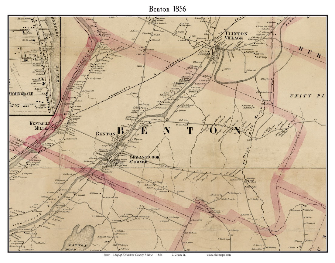 picture relating to Printable Map of Maine identified as Benton, Maine 1856 Previous City Map Customized Print - Kennebec Co.