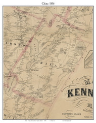 China, Maine 1856 Old Town Map Custom Print - Kennebec Co.