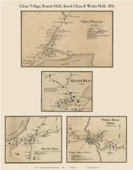 China, South China, Branch Mills & Weeks Mills Villages, Maine 1856 Old Town Map Custom Print - Kennebec Co.