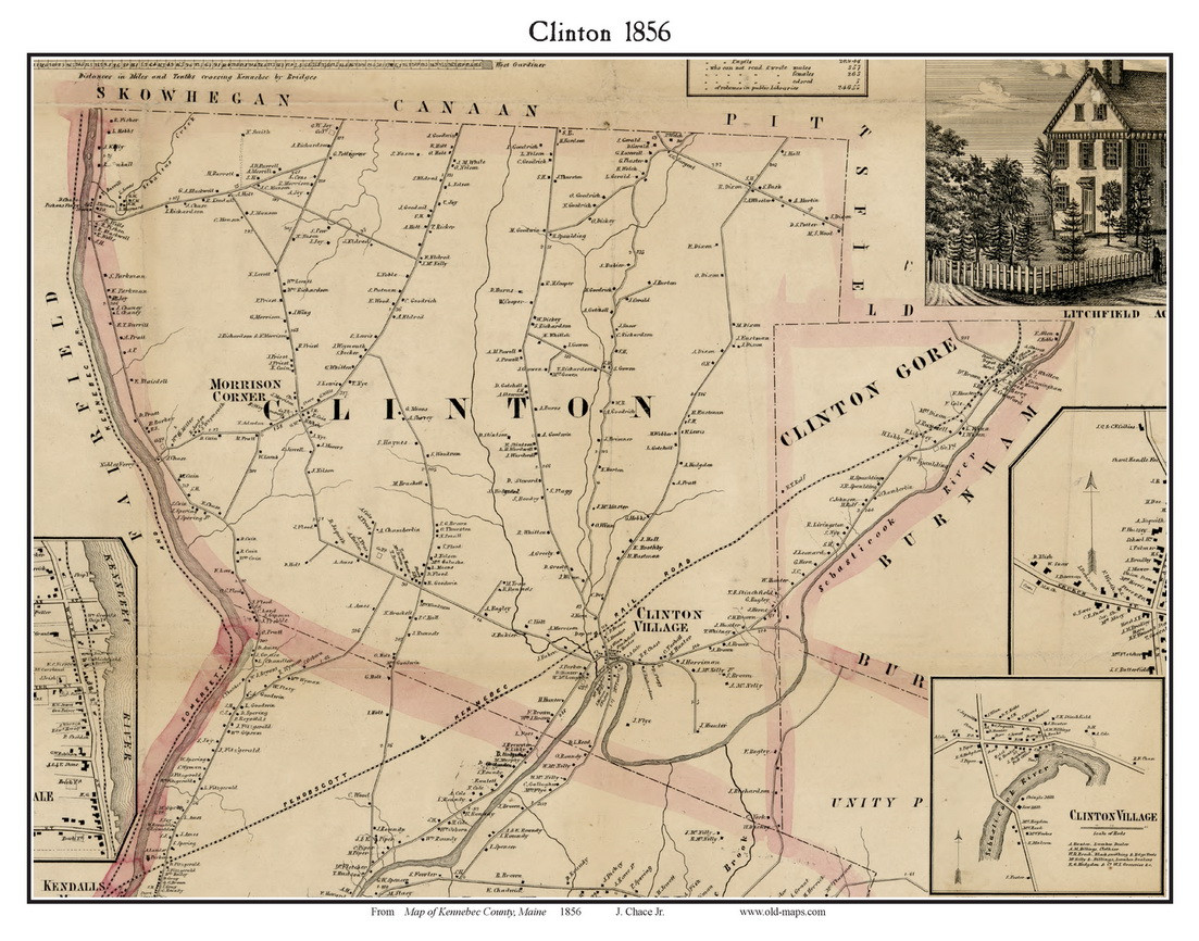 Clinton, Maine 1856 Old Town Map Custom Print   Kennebec Co.   OLD