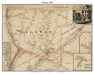 Clinton, Maine 1856 Old Town Map Custom Print - Kennebec Co.