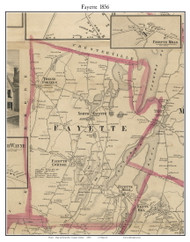 Fayette, Maine 1856 Old Town Map Custom Print - Kennebec Co.