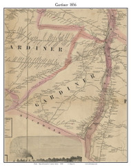 Gardiner, Maine 1856 Old Town Map Custom Print - Kennebec Co.