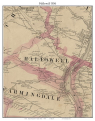Hallowell, Maine 1856 Old Town Map Custom Print - Kennebec Co.