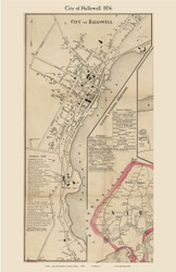 City of Hallowell, Maine 1856 Old Town Map Custom Print - Kennebec Co.