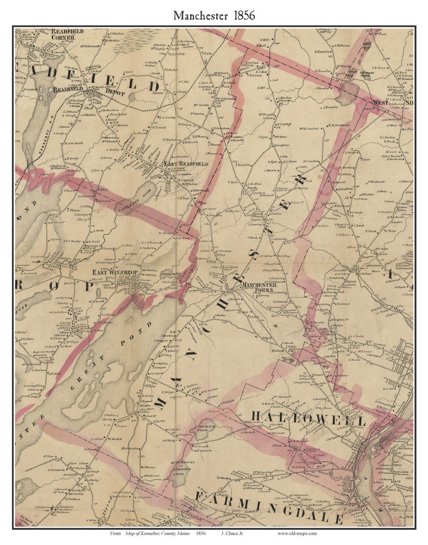Manchester Maine 1856 Old Town Map Custom Print Kennebec Co