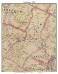 Manchester, Maine 1856 Old Town Map Custom Print - Kennebec Co.