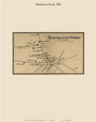 Manchester Forks, Maine 1856 Old Town Map Custom Print - Kennebec Co.