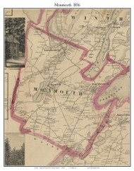 Monmouth, Maine 1856 Old Town Map Custom Print - Kennebec Co.