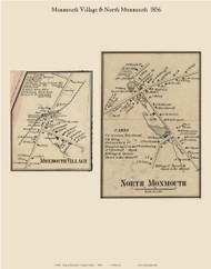 Monmouth and North Monmouth Villages, Maine 1856 Old Town Map Custom Print - Kennebec Co.