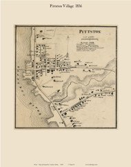 Pittston Village, Maine 1856 Old Town Map Custom Print - Kennebec Co.