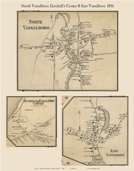 North Vassalboro, East Vassalboro and Getchell's Corner Villages, Maine 1856 Old Town Map Custom Print - Kennebec Co.