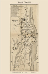 Waterville Village, Maine 1856 Old Town Map Custom Print - Kennebec Co.