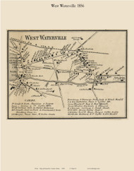 West Waterville Village, Maine 1856 Old Town Map Custom Print - Kennebec Co.