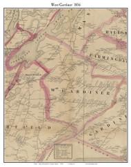 West Gardiner, Maine 1856 Old Town Map Custom Print - Kennebec Co.