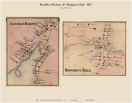 Boothbay Harbor & Hodgdons Mills, Maine 1857 Old Town Map Custom Print - Lincoln Co.