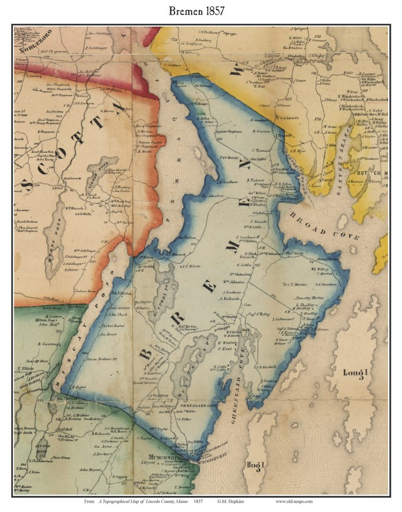 Bremen Maine 1857 Old Town Map Custom Print Lincoln Co