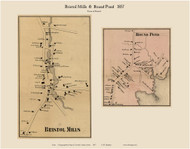 Bristol Mills & Round Pond, Maine 1857 Old Town Map Custom Print - Lincoln Co.