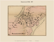 Damariscotta Mills, Maine 1857 Old Town Map Custom Print - Lincoln Co.