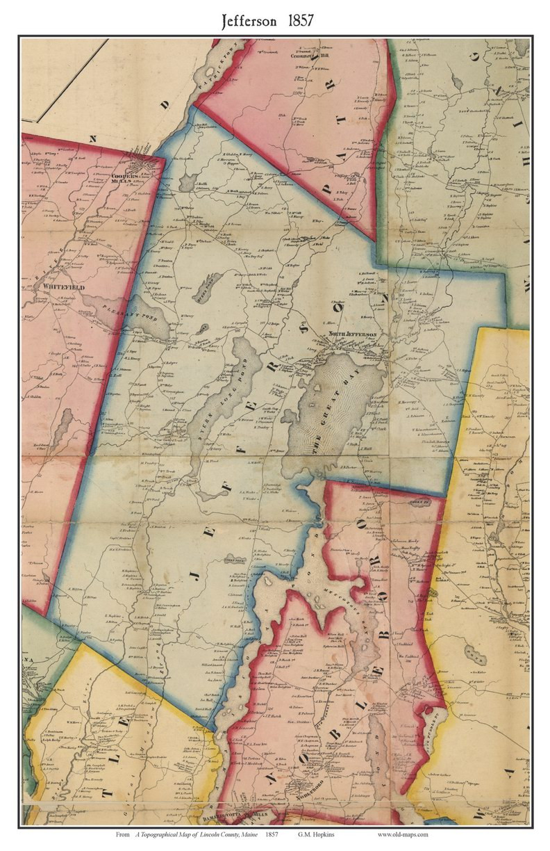 Jefferson Maine Map.Jefferson Maine 1857 Old Town Map Custom Print Lincoln Co Old Maps