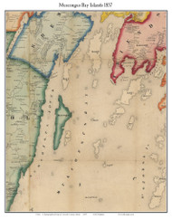 Muscongus Bay Islands, Maine 1857 Old Town Map Custom Print - Lincoln Co.
