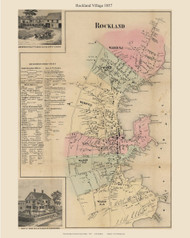 Rockland Village, Maine 1857 Old Town Map Custom Print - Lincoln Co.