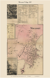 Wicasset Village, Maine 1857 Old Town Map Custom Print - Lincoln Co.