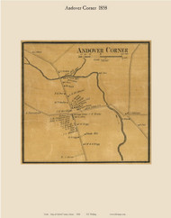 Andover Corner, Maine 1858 Old Town Map Custom Print - Oxford Co.