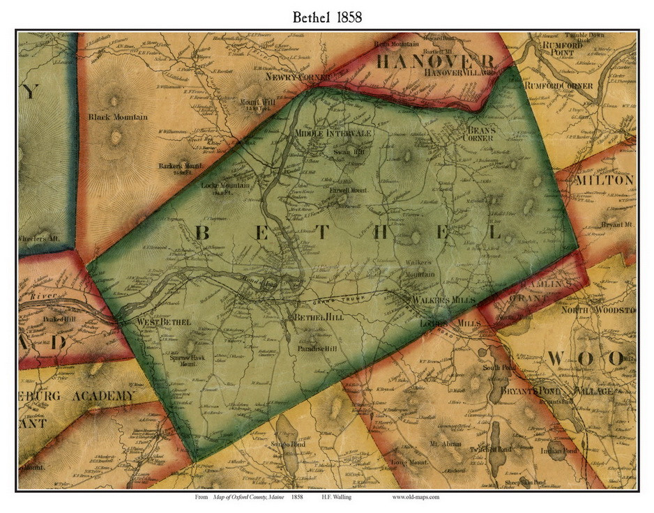 Bethel Maine 1858 Old Town Map Custom Print Oxford Co Old Maps