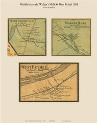 West Bethel, Middle Intervale & Walker's Mills, Maine 1858 Old Town Map Custom Print - Oxford Co.