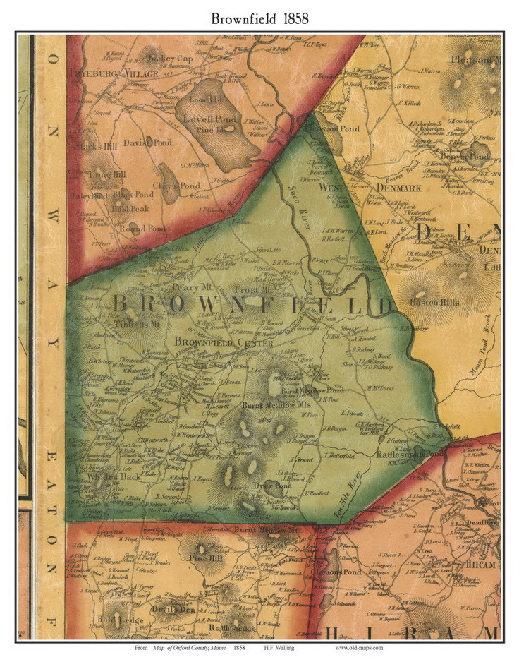 Map Of Arizona 1858.Brownfield Maine 1858 Old Town Map Custom Print Oxford Co Old Maps