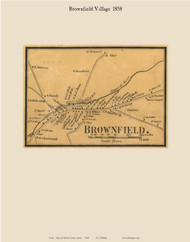 Brownfield Village, Maine 1858 Old Town Map Custom Print - Oxford Co.