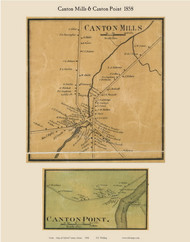 Canton Mills & Canton Point, Maine 1858 Old Town Map Custom Print - Oxford Co.