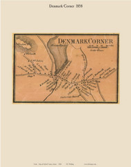 Denmark Corner, Maine 1858 Old Town Map Custom Print - Oxford Co.