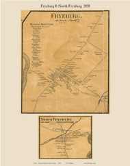 Fryeburg Village & North Fryeburg, Maine 1858 Old Town Map Custom Print - Oxford Co.